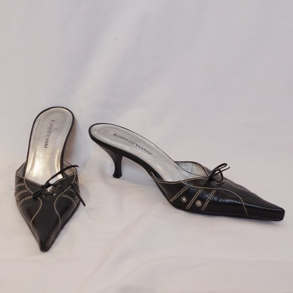 *3 For $25* Roberto Vianni Black Heeled Mules GUC